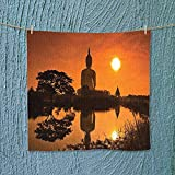 Analisahome Lightweight Towel Big Giant Statue by The River at Sunset Thai Asian Culture Scene Yin for Home, Hotel and Spa W13.8 x W13.8 inch