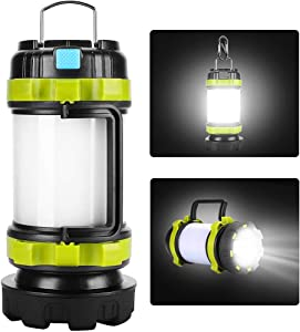 yotutun Camping Lantern Rechargeable, Lantern Flashlight LED with 800LM,6Light Modes,3800mAh Power Bank, IPX4 Waterproof,Perfect for Camping Light Hurricane,Emergency,Hiking,Outdoor