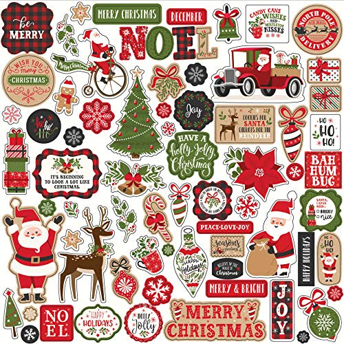 Echo Park Paper Company MFC190014 My Favorite Christmas Element Sticker, red, Green, Black, Kraft