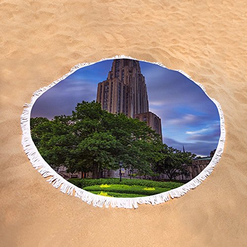 Pixels Round Beach Towel With Tassels featuring ''The Cathedral Of Learning'' by Rick Berk by Pixels (Image #1)