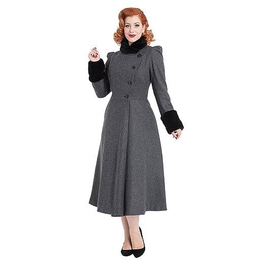 1950s Coats and Jackets History Womens Voodoo Vixen Violet Faux Fur Trim Dress Coat (Grey) £112.98 AT vintagedancer.com