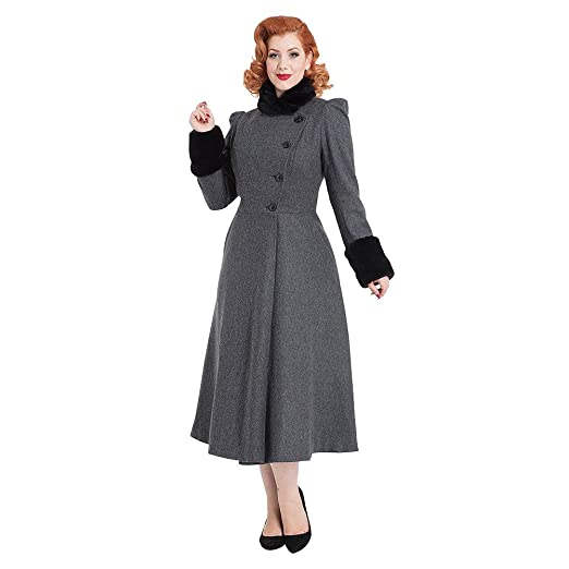 1950s Jackets and Coats | Swing, Pin Up, Rockabilly Womens Voodoo Vixen Violet Faux Fur Trim Dress Coat (Grey) £112.98 AT vintagedancer.com
