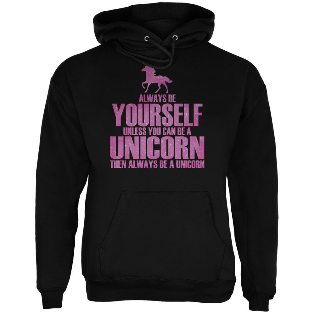 Always Be Yourself Unicorn Black Adult Hoodie - X-Large Animal World AW030573-XL