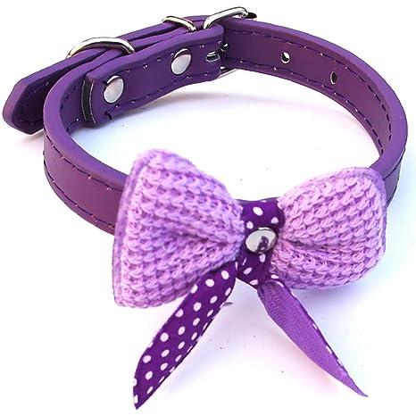 Collar de gato, ajustable de piel sintética para mascotas, collares de lana con lazo