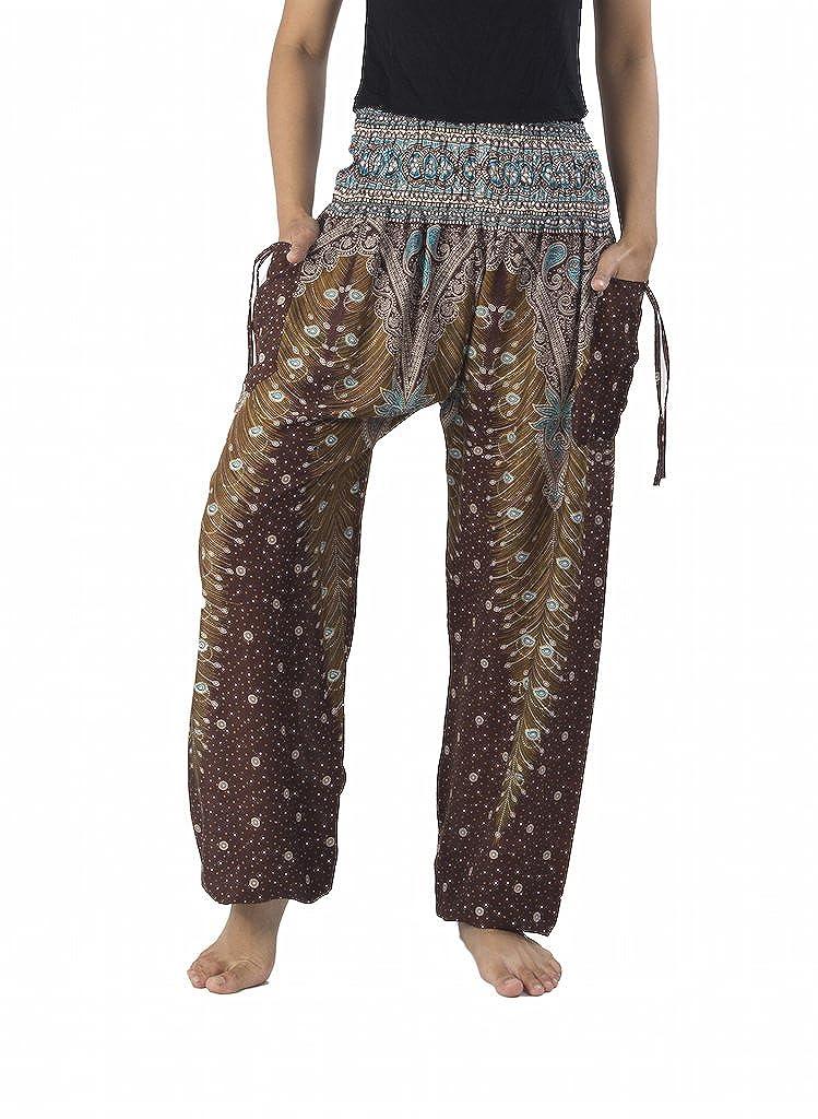Lannaclothesdesign Women's Smocked Waist Peacock Print Harem Pants Hippie Bohemian Style YPPE9886S