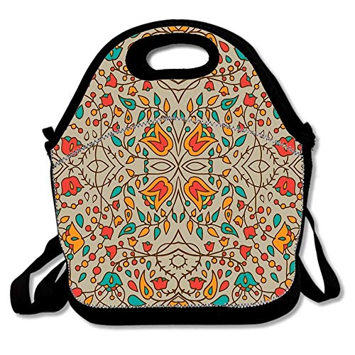 Oriental Flower Pattern Insulated Neoprene Lunch Bag-Removable Shoulder Strap-Reusable Thermal Thick Lunch Tote/Lunch Box/Cooler Bag For Adults,Kids,Women,Men,Teens,Girls,Baby - Flower Pattern Removable Strap