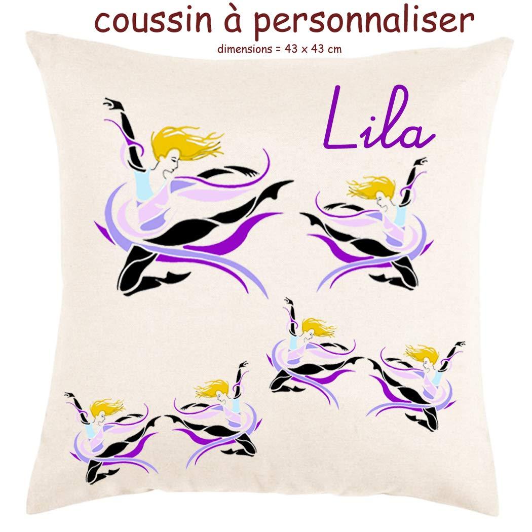 Texti-cadeaux, Coussin toucher très doux, motif Danseuse à personnaliser avec Prénom…