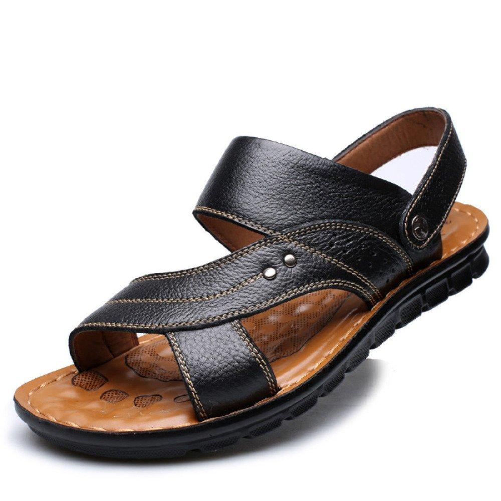 Herren Leder Braun Offene Ziehen Zehe Sandalen Strandschuhe Freizeit Ziehen Offene Sie Auf Sandalen Slipper,schwarz-42 - 47af25
