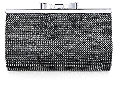 (Luxury Crystal Clutch Women Rhinestone Evening Bag Black)