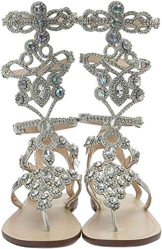 good utterly stylish genuine shoes Amazon.com   Hinyyrin Women's Rhinestone Sandals, Gold Silver ...