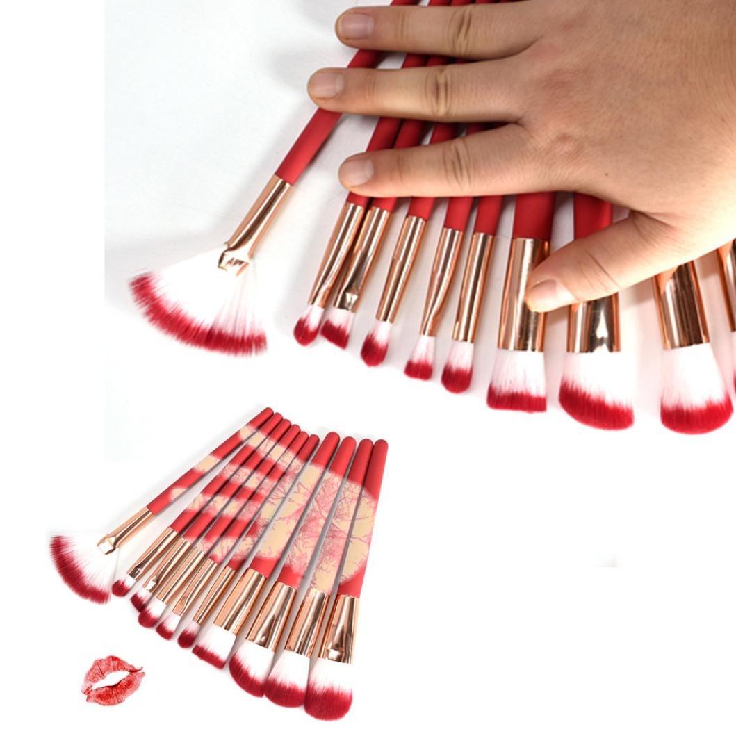 DMZing 10pcs Temperature Makeup Brush Set Tools Foundation Make-up Kit Brush Set