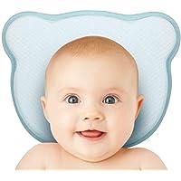 Almohada para bebé, almohada para la prevención de la cabeza plana de deformación del recién nacido de cabeza plana 0 ~ 12 meses, hecha de espuma con forma de almohada de memoria y soporte para el cuello (azul)
