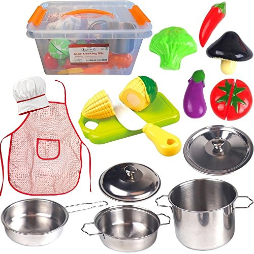 FUNERICA Toddler Play Kitchen Accessories Set, Stainless-Steel Toy Pots and Pans, Kids Apron & Chef Hat Set, Play Cut Vegetables with Knife, Play Kitchen Utensils, and Beautiful Storage Container