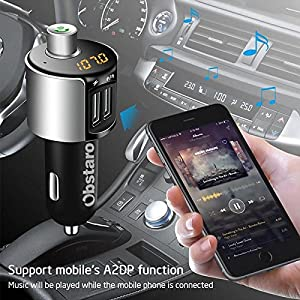 Car Charger,OBSTARO Bluetooth FM Transmitter Wireless MP3 Player Radio Adapter Car Kit With Dual USB Charger,Hands Free for Iphone, Ipad,Smartphones