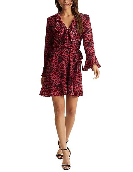 7a174de1e9a Lipsy Mujer Vestido Manga Larga Volantes Estampado Leopardo Rojo EU 46 (UK  18)