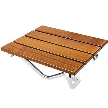 PrimeMatik - Asiento de Ducha abatible. Silla Plegable para Ancianos de Madera Tropical y Aluminio 380x338mm