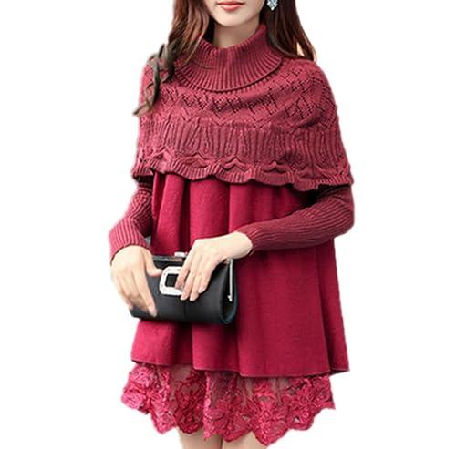 Mujer En La Caída Del Cuello Alto Chal De Encaje Capa De Tejer Costura Suéter Engrosamiento Cálido