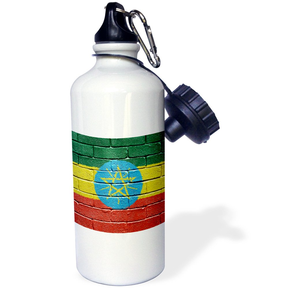 21 oz White 3dRose wb/_155227/_1 National Flag of Ethiopia Painted Onto a Brick Wall Ethiopian Sports Water Bottle