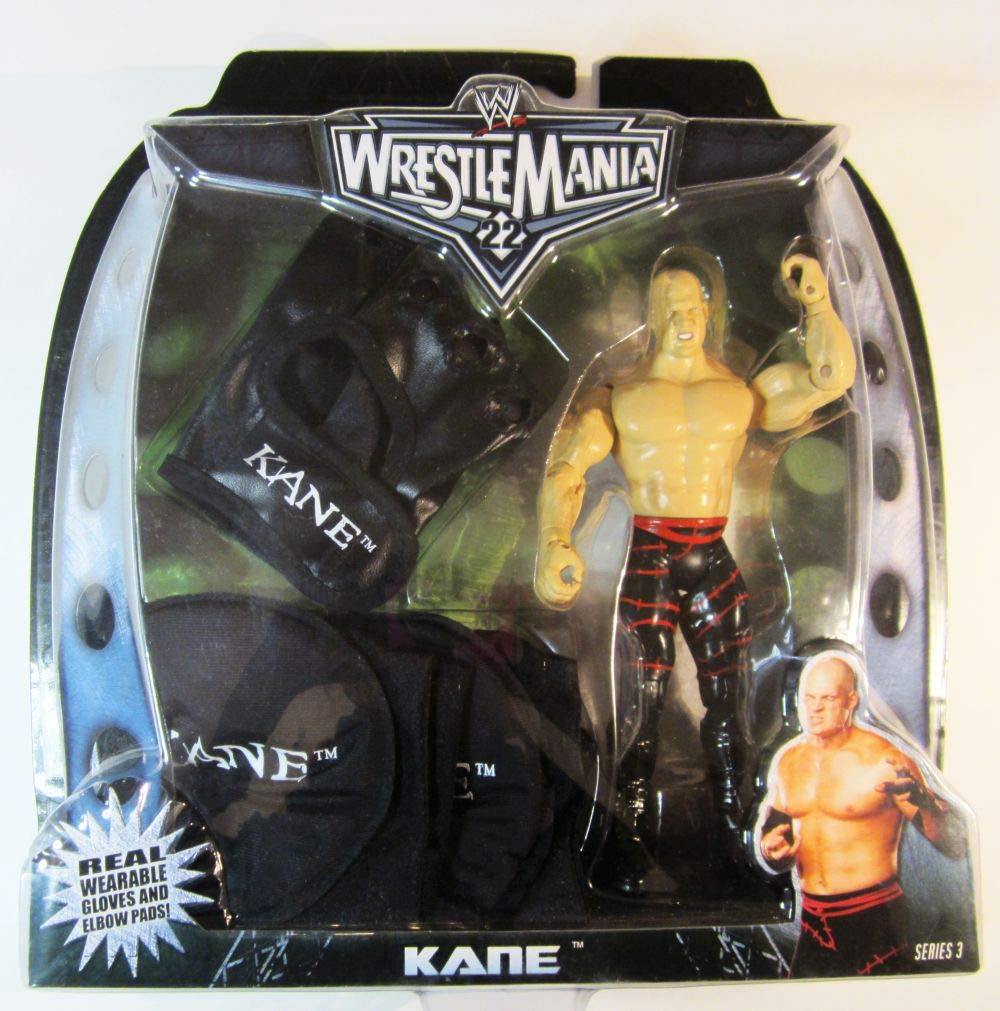WWE Wrestlemania 22 Kane 7 inch Figure and Real Wearable Gloves Elbow Pads Series 3