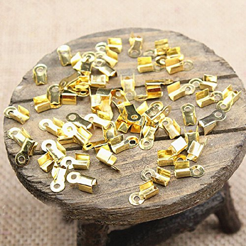 200 pcs Accessories Jewelry Leather Cord Ropes Crimp End Caps Pendant Pinch Clasp Bails Choker Necklace Beads Connector Bracelet Charms Hooks Buckle Toggle Findings (Gold, 4 x 8 mm fit 3 mm cord)