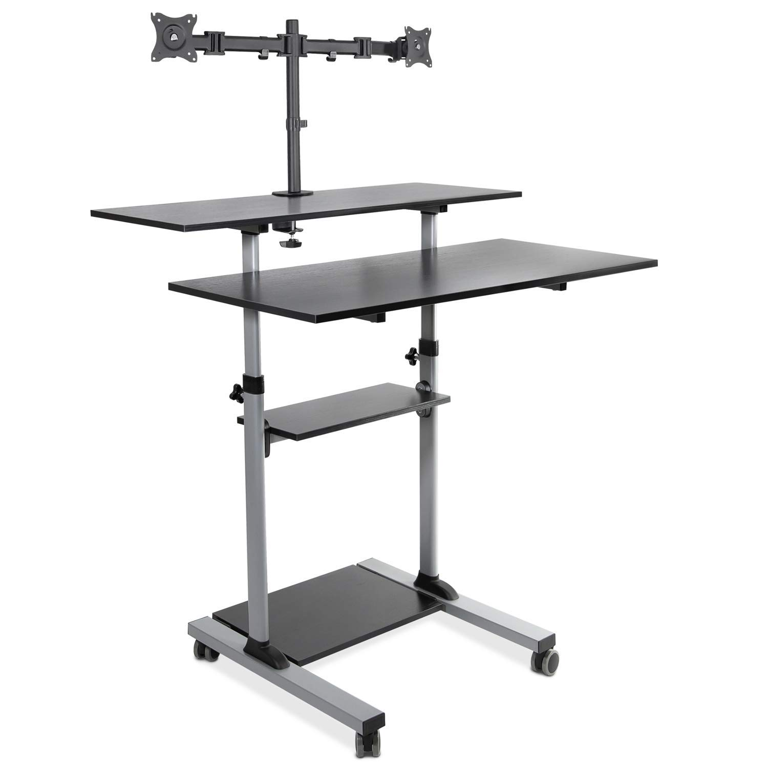 Mount-It! Extra Wide Mobile Standing Desk with Dual Monitor Mount - 40 Inch Wide Height Adjustable Rolling Computer Workstation with Four Wheels