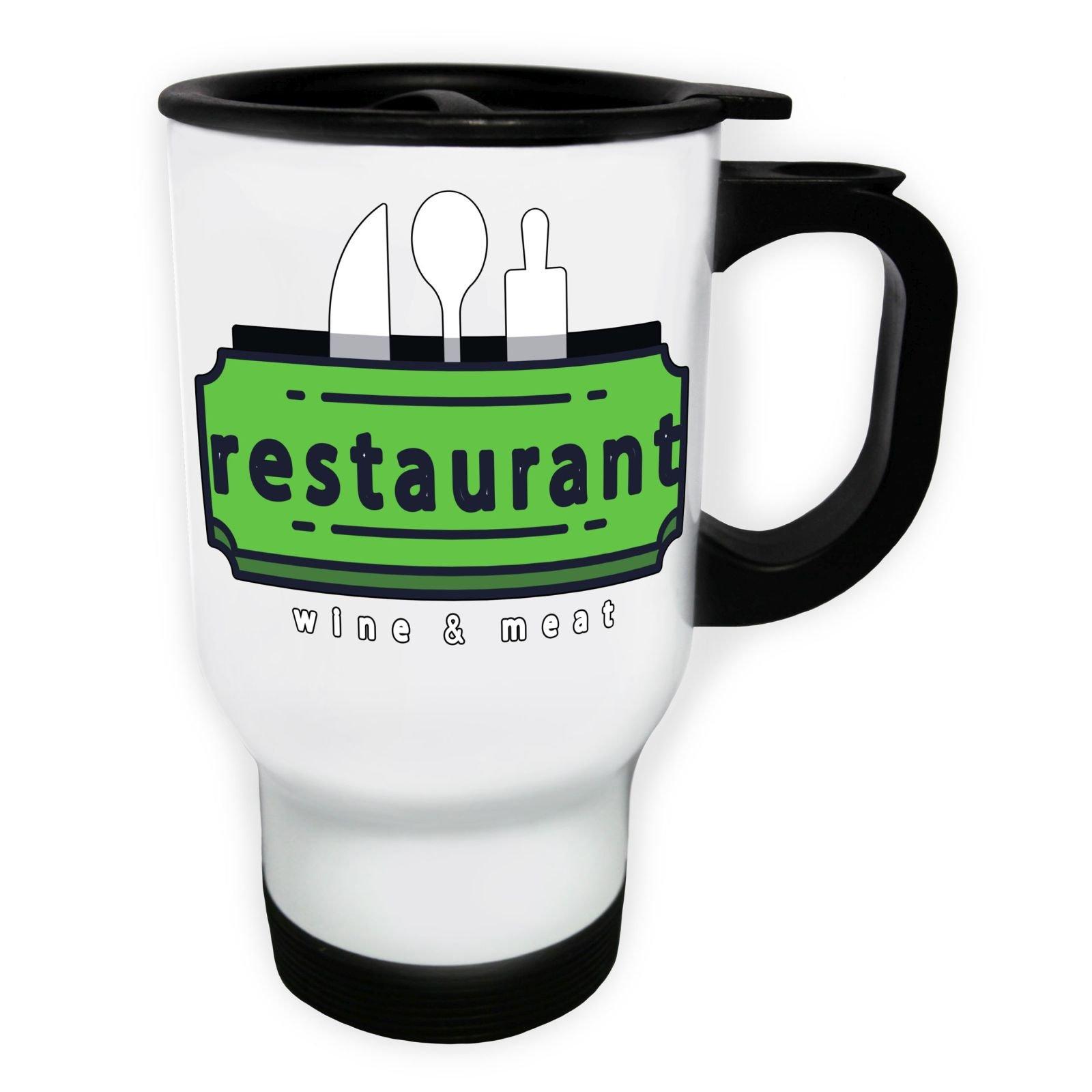 Wine Restaurant Bar White Thermo Travel Mug 14oz o938tw