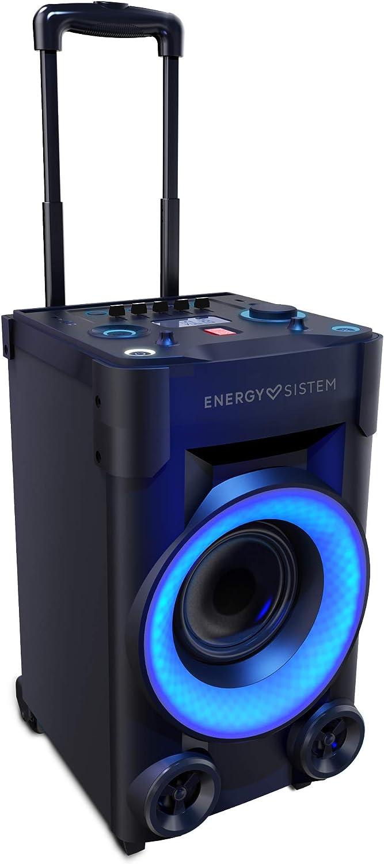 Energy Party 3 Go Altavoz portátil con Ruedas Bluetooth, USB y micrófono (40 W, Luces de Fiesta, Radio FM, Botón de Potencia 100W)