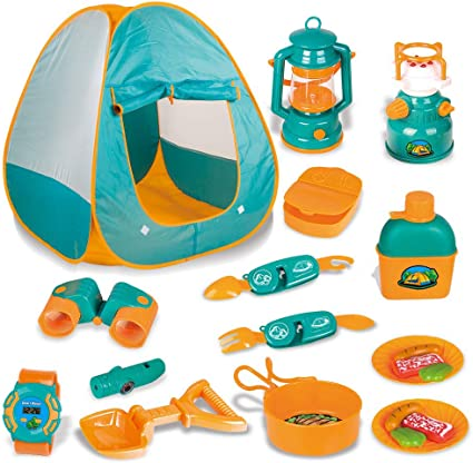 Amazon Com Lbla 20 Pcs Kids Camping Set Pop Up Tent With Kids Camping Gear Set Outdoor Toys Camping Tools Set For 3 4 5 Kids Boys Girls Toys Games