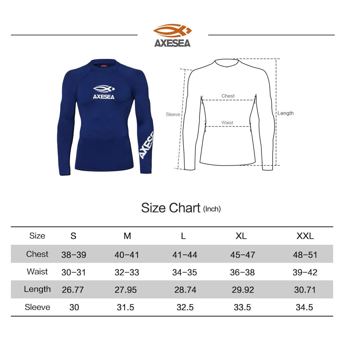 Rash Guard Swim Shirt Athletic Swim Tops N-M1T001A AXESEA Men Long Sleeve Rashguard UPF 50