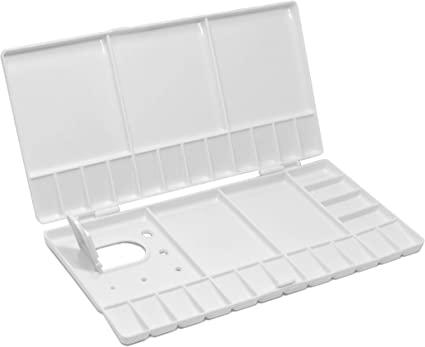 Workhorse Large White Folding Watercolor Handheld Travel Palette Tray