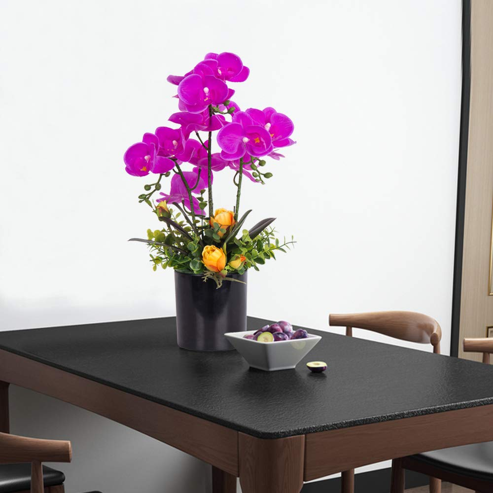 YUYAO Artificial Orchid Bonsai with Vase Real Touch Fake Orchids Flowers PU Phalaenopsis Bonsai Arrangement for Home Office Table Party Decoration Black, 2