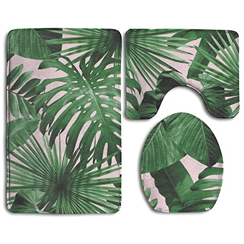 Tidal Current Painting 133-Tropical Leaf Soft Toilet Carpet Three Pieces,Non Slip Bathroom Rugs,Toilet Lid Cover,U-Shaped Toilet (Current Tropical Rug)