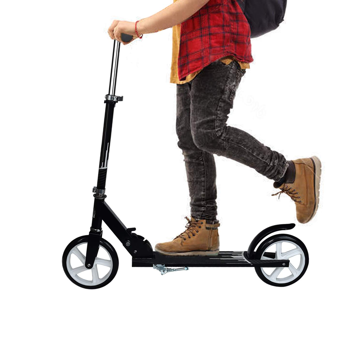 UHINOOS Adults Kick Scooter with Easy Folding System Adults Kick Scooter with Big Wheels Teenager Scooters with Steel Handle Bar