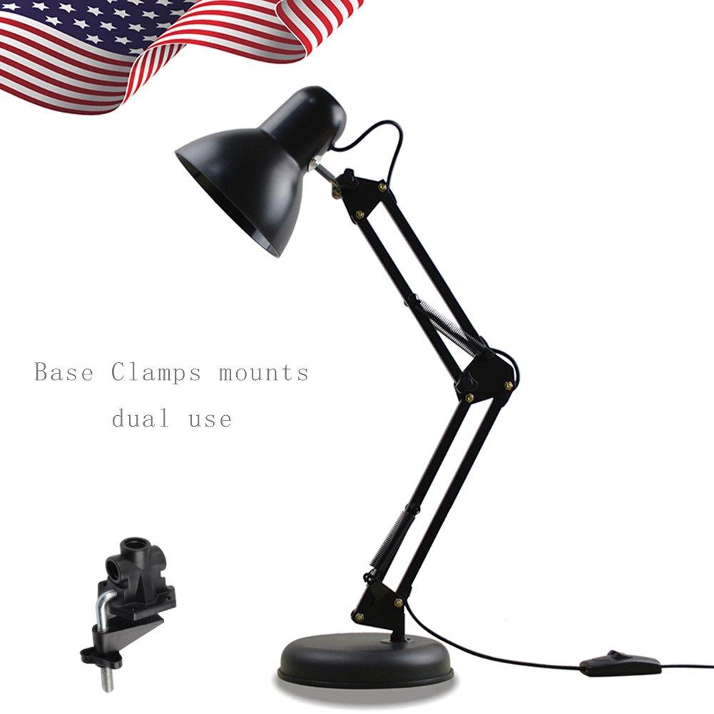 YOMM Adjustable Swing Arm Drafting Design Office Studio Clamp Table LED Desk Lamp Light with Base (Black)