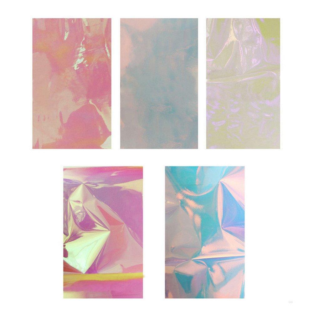 5Packs Mixed Color reflectante espejo diseño pieza de vidrio roto hoja de uñas Tong Yue