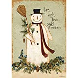 Build Snowmen – STANDARD Size, 28 Inch X 40 Inch, Decorative Double Sided Flag MADE IN USA by Custom Décor Inc. For Sale