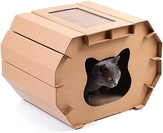 HMDJW Rascador de Casa Cartón for Gatos, Casa De Cartón Corrugado Gatos con Almohadilla for Rayar Gatitos de Interior Kitty, Caja de Cartón Papel Reciclable Duradero for Bricolaje: Amazon.es: Productos para mascotas