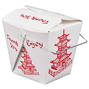 Pack of 100 Chinese Take Out Boxes Pagoda 16 oz/Pint Size Party Favor and Food Pail