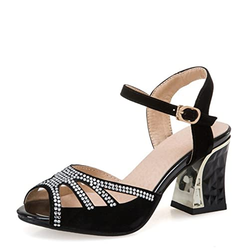 2b8ec4aa65fb Easemax Women s Faux Suede High Chunky Heel Peep Toe Cutout Ankle Buckle  Strap Sandals With Rhinestones  Amazon.co.uk  Shoes   Bags