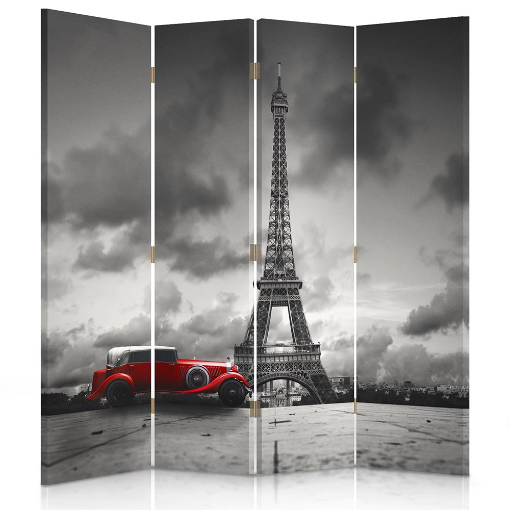 Feeby Frames Il paravento Stampato su Telo,Il divisorio Decorativo per Locali, bilaterale, a 3 Parti (110x150 cm), Parigi,Torre Eiffel, Bianco E Nero