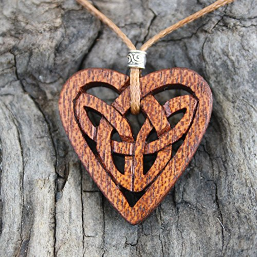 Handcarved Mahogany Celtic Love Knot Necklace, Celtic necklace for Women, Pendant size 1.38
