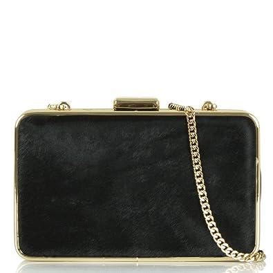 Michael Kors Black Calf Hair Elsie Box Clutch Black Fabric  Amazon ... 1f805da337ed