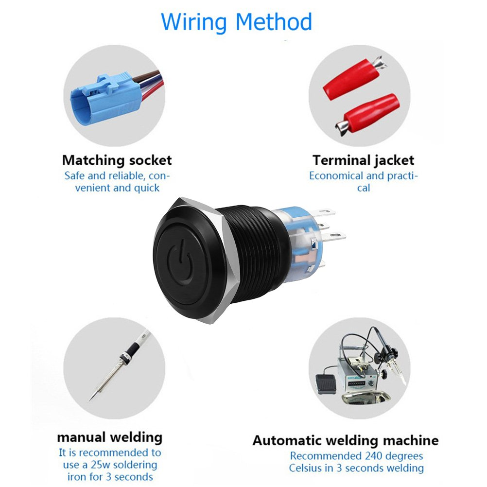 Quentacy 19mm 3 4 Metal Latching Pushbutton Switch 12v Power Symbol Wiring A Plug Blue Black Led 1no1nc Spdt On Off Waterproof Toggle With Wire Socket