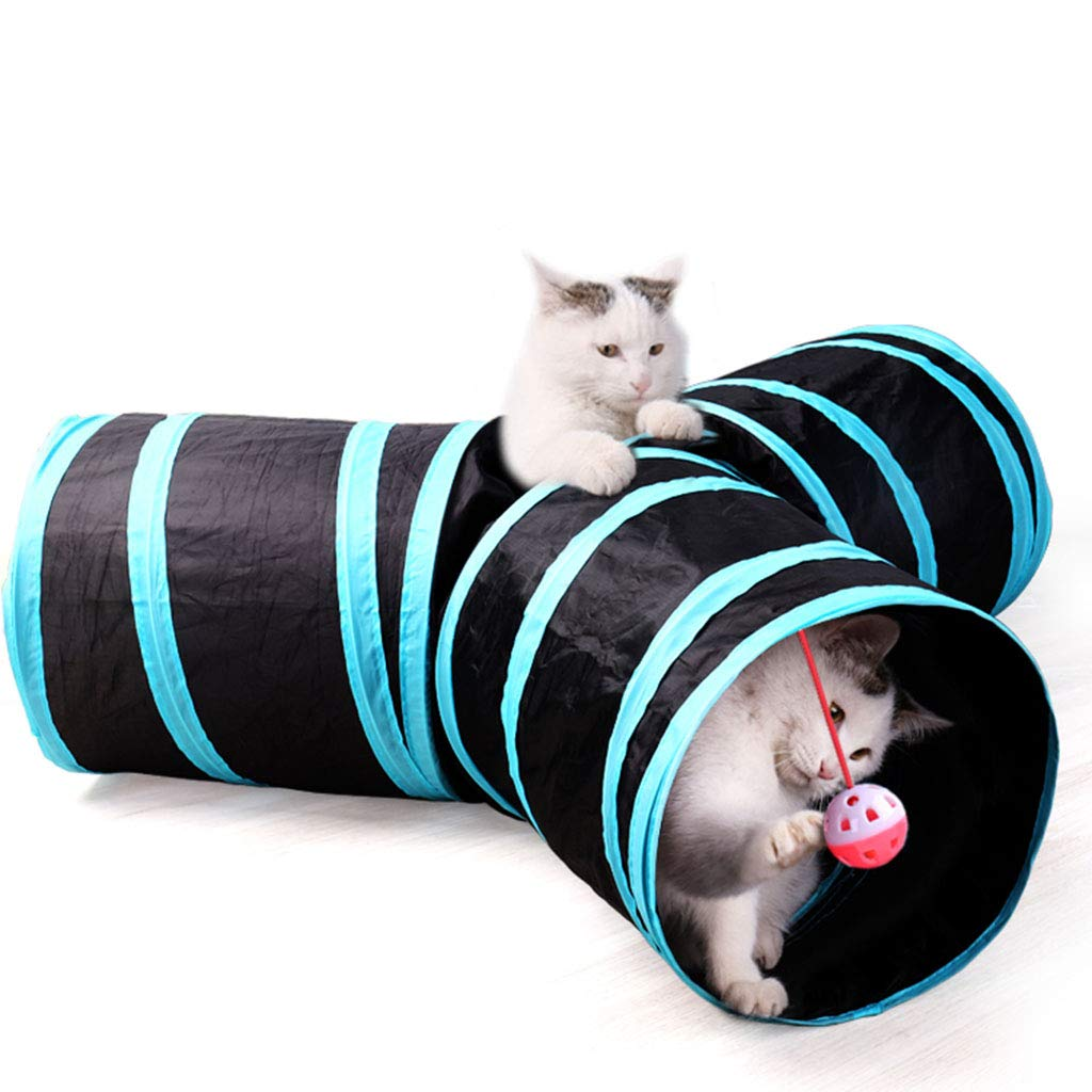 Black Cat Tunnel Portable Folding, Pet Play House Waterproof and Breathable, Pet Tunnel Creative Multiple Holes for Indoor Outdoor Travel Camping,Black