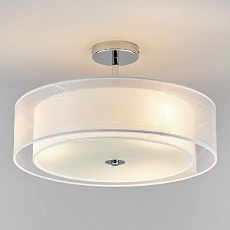 Moderno Elegante Blanco Tela Luz de techo Textil Lámpara de ...