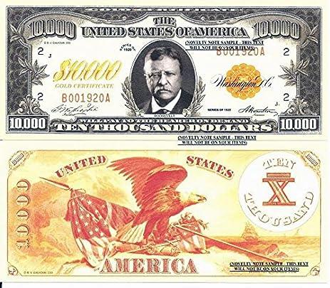 Amazon.com: Theodore Roosevelt $10,000 Dollar Gold Certificate ...