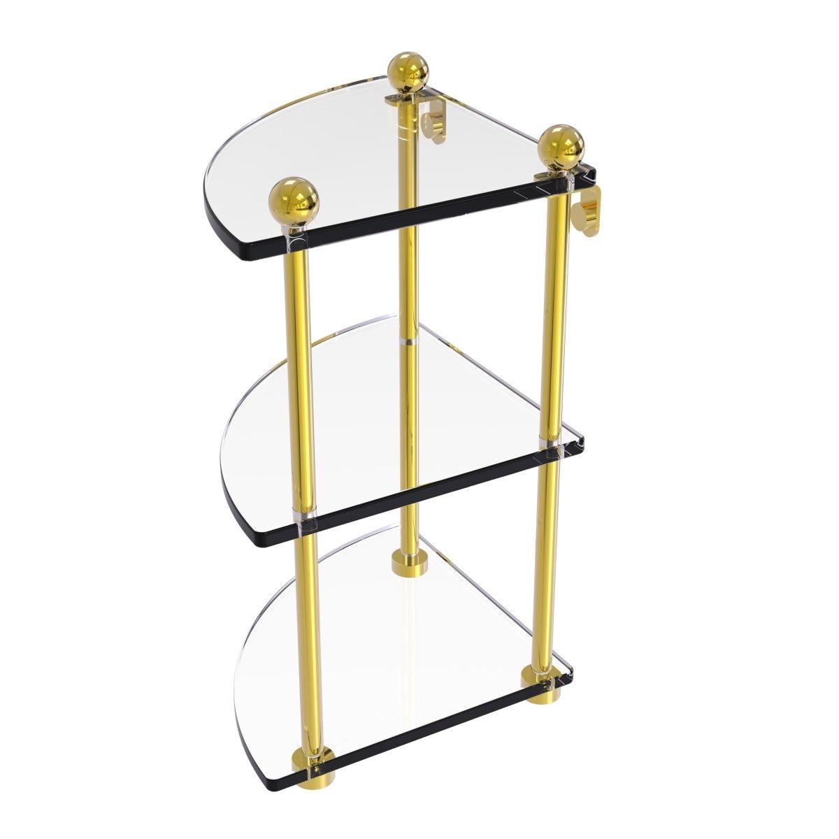 Allied真鍮3階層コーナーガラス棚 PR-6-UNL B01N2WMO5X ラッカーなし真鍮 ラッカーなし真鍮