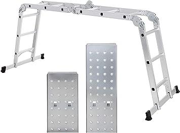 Escalera multifunción de aluminio, 16 peldaños, 3,6 m de longitud total, escalera articulada: Amazon.es: Bricolaje y herramientas
