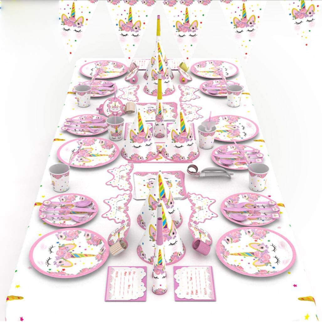 BeeChamp 91pcs Timeless Unicorn Themed Birthday Party Supplies Set Invitation Cards for Little Girls Pink Favors Table Cloth Paper Decorations and Tableware w// Happy Birthday Banner Serves 6 Disposable for Easy Cleanup
