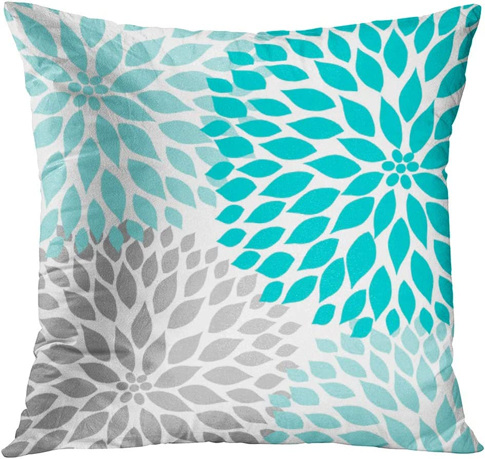 Emvency Throw Pillow Cover Teal White Turquoise Blue Gray Dahlia Mod Baby Decorative Pillow Case Home Decor Square 20 x 20 Inch Pillowcase